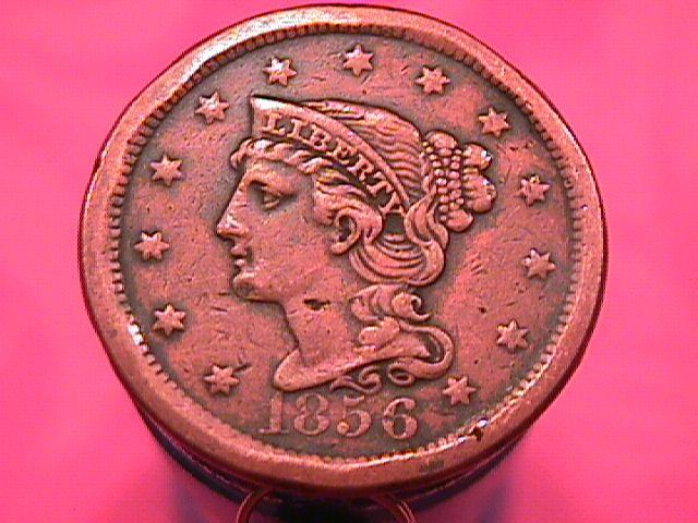 BRAIDED HAIR COPPER LARGE CENT  1856 GRADED EXTREMELY    FINE-40