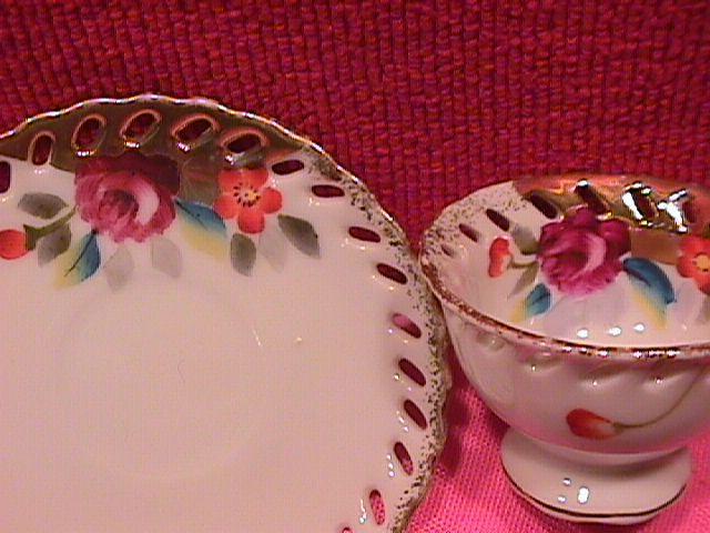 Neco, Pierced Rim, Miniature Cup & Saucer