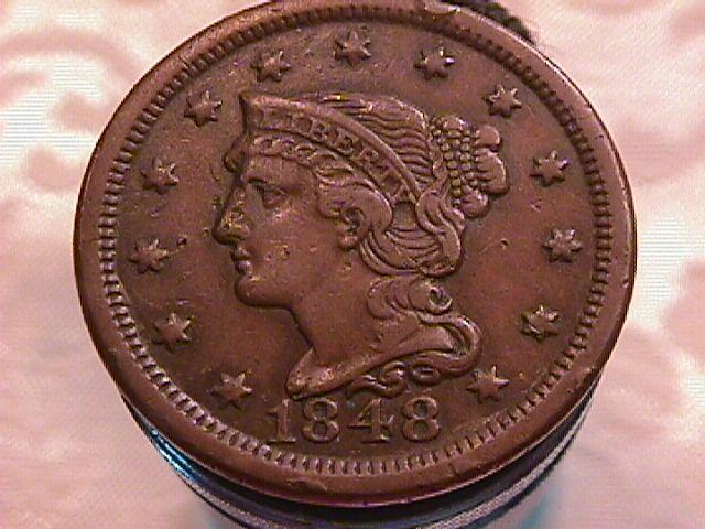 BRAIDED HAIR COPPER LARGE CENT DATED  1848 GRADED VERY FINE-35