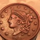 MATRON / YOUNG HEAD LARGE CENT DATED  1838 GRADED EXTREMELY FINE-40