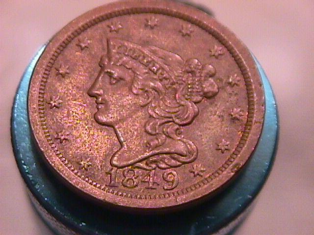 BRAIDED HAIR COPPER LARGE CENT DATED 1849 GRADED ALMOST UNCIRCULATED-50