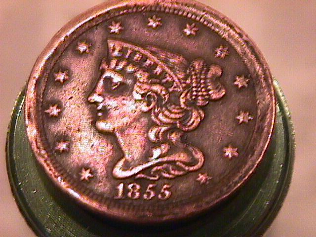 BRAIDED HAIR COPPER HALF CENT DATED-1855 EXTREMELY FINE-45 Condition