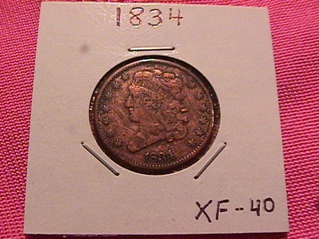 CLASSIC HEAD 1834 EXTREMELY FINE-40 GRADED HALF CENT