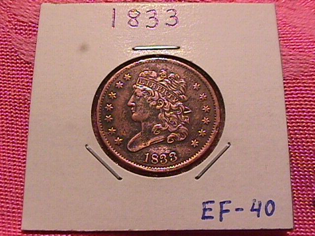 CLASSIC HEAD 1833 EXTREMELY FINE-40 GRADED HALF CENT