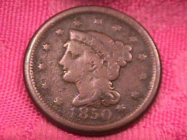 BRAIDED HAIR COPPER LARGE CENT   1850  VERY GOOD-10