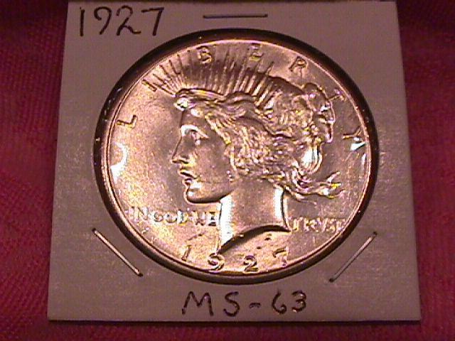 PEACE TYPE SILVER DOLLAR  1927 MINT STATE-63