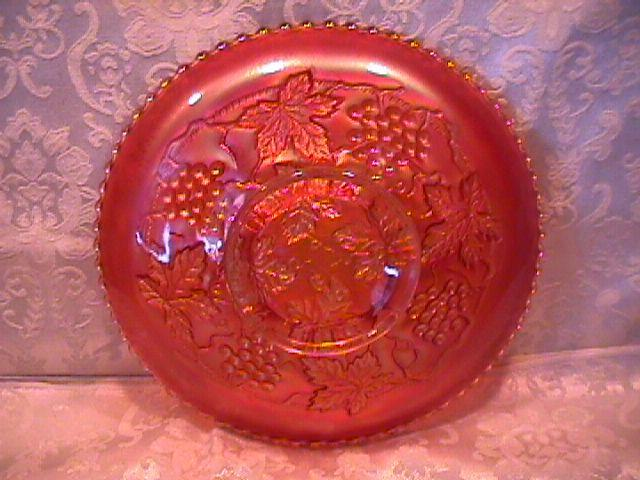 NORTHWOOD GRAPE & CABLE VARIANT PLATE PLAIN BACK MARIGOLD CARNIVAL GLASS