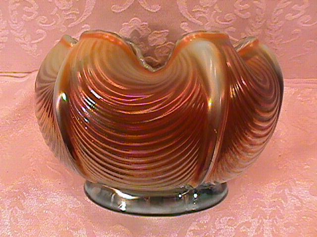NORTHWOOD DRAPERY ROSE BOWL AQUA OPAL CARNIVAL GLASS