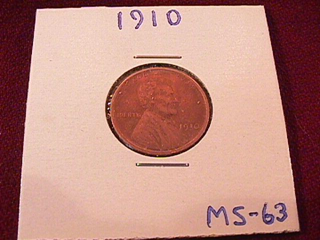 LINCOLN PENNY 1910 MS- 63 COPPER