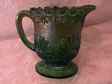 CARNIVAL GLASS SHELL & JEWEL CREAMER GREEN WESTMORELAND