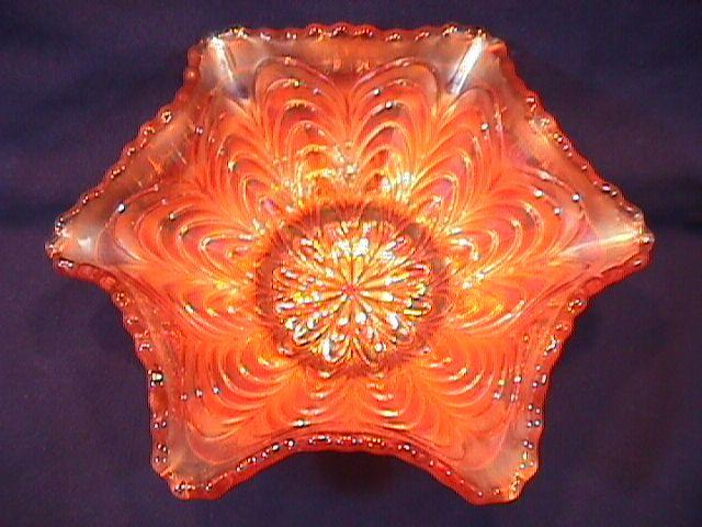 CARNIVAL GLASS MILLERSBURG PEACOCK TAIL SAUCE BOWL MARIGOLD
