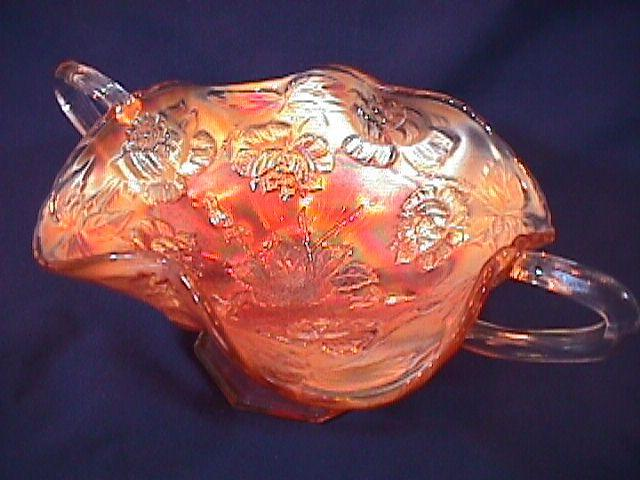 CARNIVAL GLASS WREATH of ROSES BON BON MARIGOLD FENTON