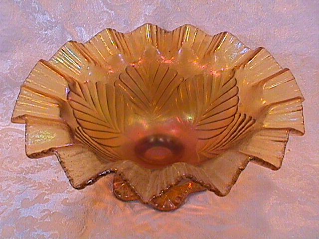 CARNIVAL GLASS PALM LEAF DOME FOOTED BOWL AMBER FENTON