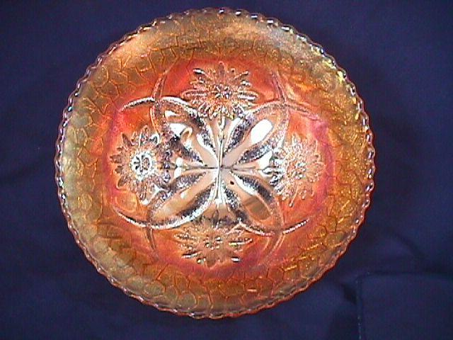 CARNIVAL GLASS FOUR FLOWERS VEGETABLE BOWL ROUND MARIGOLD RARE DUGAN