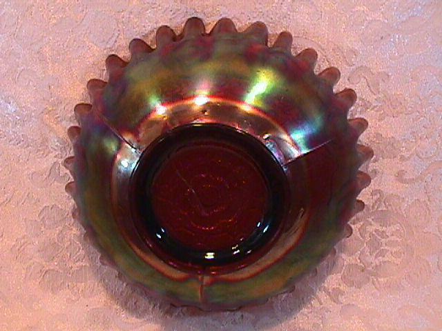 CARNIVAL GLASS CAPTIVE ROSE CANDY RIBBON EDGE BOWL AMETHYST FENTON