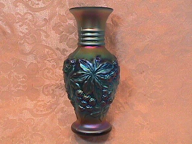 CARNIVAL GLASS FENTON FRAVILLE RASPBERRY VASE ELECTRIC BLUE