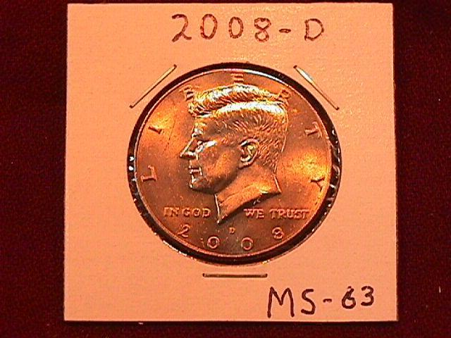 KENNEDY HALF DOLLAR 2008-D MINT STATE-63+++