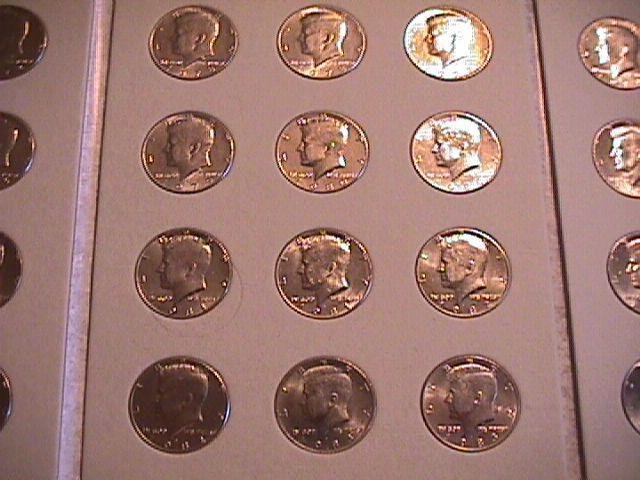 KENNEDY HALF CLAD SET 1971-P&D-1989-P&D  COMPLETE 36 COINS  UNC. HARRIS FOLDER