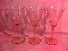 Fostoria Unknown #877 Pink Goblets (3)
