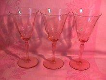 Fostoria Unknown #877 Pink Goblets (3)
