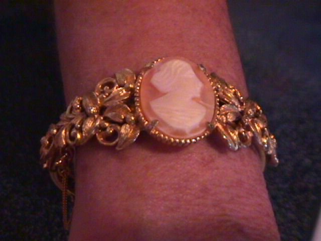 Florenza Gold Toned Cameo Bangle Bracelet