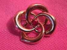 19Th Century Gold Swirl Pin with Garnet