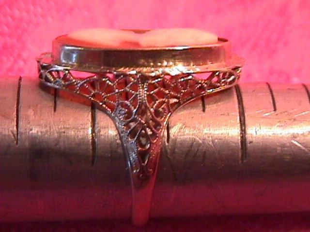 14K White Gold Filigree Cameo Ring