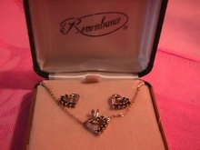 Boxed set 10k Sapphire Necklace & Earrings