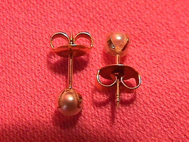 14k Gold  & Genuine Pearl Earrings