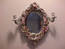 Meissen Museum Quality Ladies 3-Candle Lite Vanity Mirror