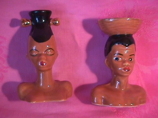 Pair of Lady's Head Vases