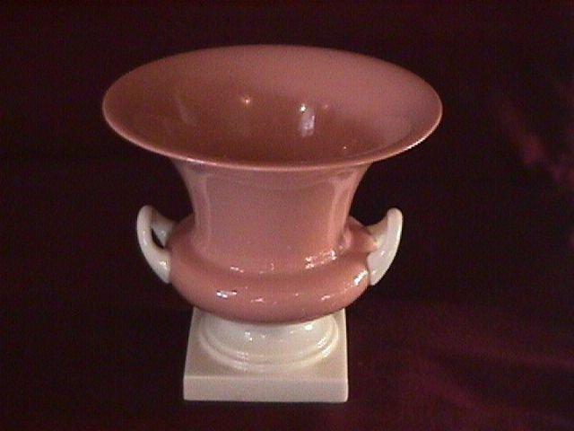Lenox Salmon-Pink Porcelain Urn- Handled- Pedestal Vase