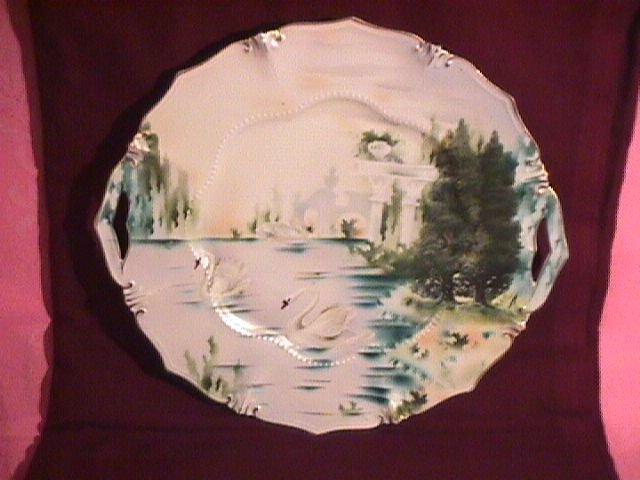 R. S. Prussia, Suhl, Tillowitz Swan Scene Cake Plate