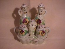 Occupied Japan Porcelain 10-Piece Cruet Set