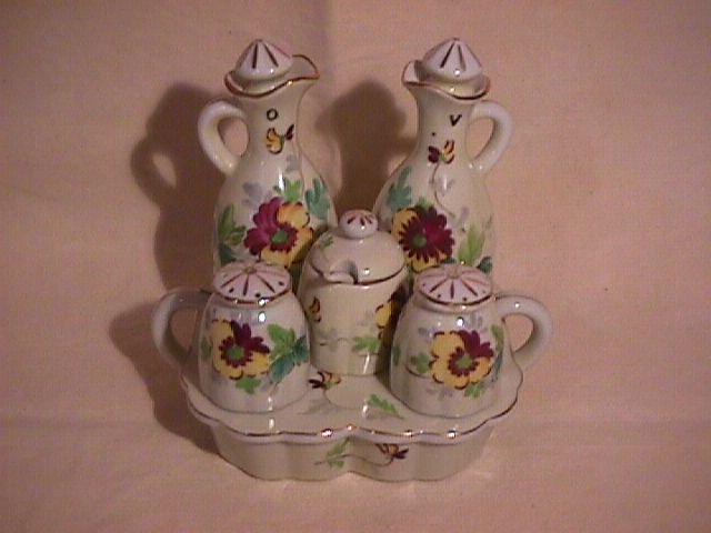 Occupied Japan Porcelain 10-Piece Cruet Set