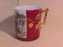 Porcelain Mug- Rose Red with Gold- & Spanish Scene