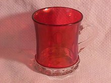 Ruby Flashed-Early Pressed Glass Mug
