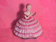 Limoges Porcelain Elegant Lady Covered Powder Box