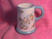 Vintage Porcelain Mug-Roses with Blue Trim