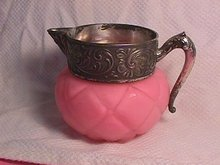 1880's Quilted Diamond Satin Glass Creamer