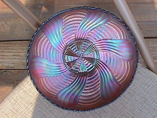 Fenton Carnival Glass (Amethyst) Ribbon Tie Bowl