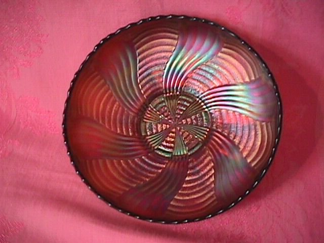Fenton Carnival Glass (Amethyst) Ribbon Tie Bowl
