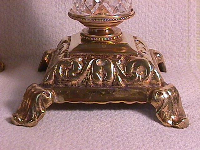 Pair Of Fine Cut Glass and Brass  Candlesticks