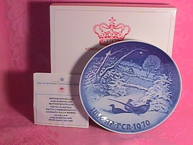 Bing & Grondahl Christmas Plate 1970-Pheasants In Snow