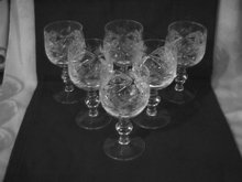 Elegant Cut Glass Wine Set -6  (Unknown Pattern)
