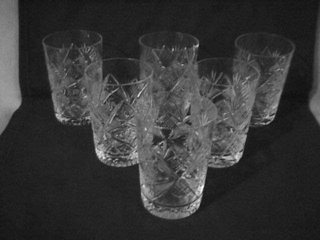 Elegant Cut Glass Juice Set -6  (Unknown Pattern)