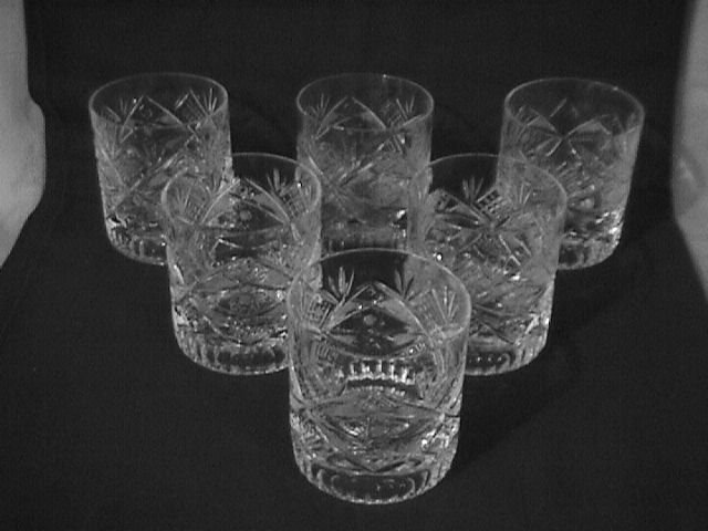 Elegant Cut Glass Old-Fashions Set -6  (Unknown Pattern)