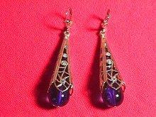 14k Solid Gold & Cobalt Tear Drop Earrings