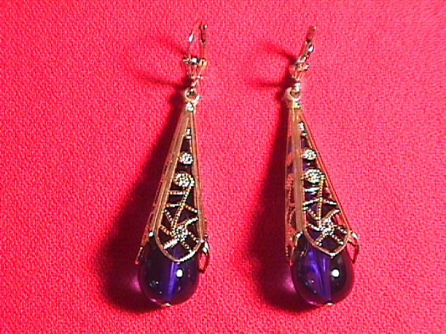 14k Solid Gold & Cobalt Tear Drop Earrings