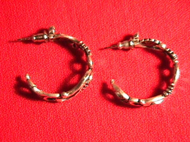 Sterling  & Black Hills Gold Hoop Earrings